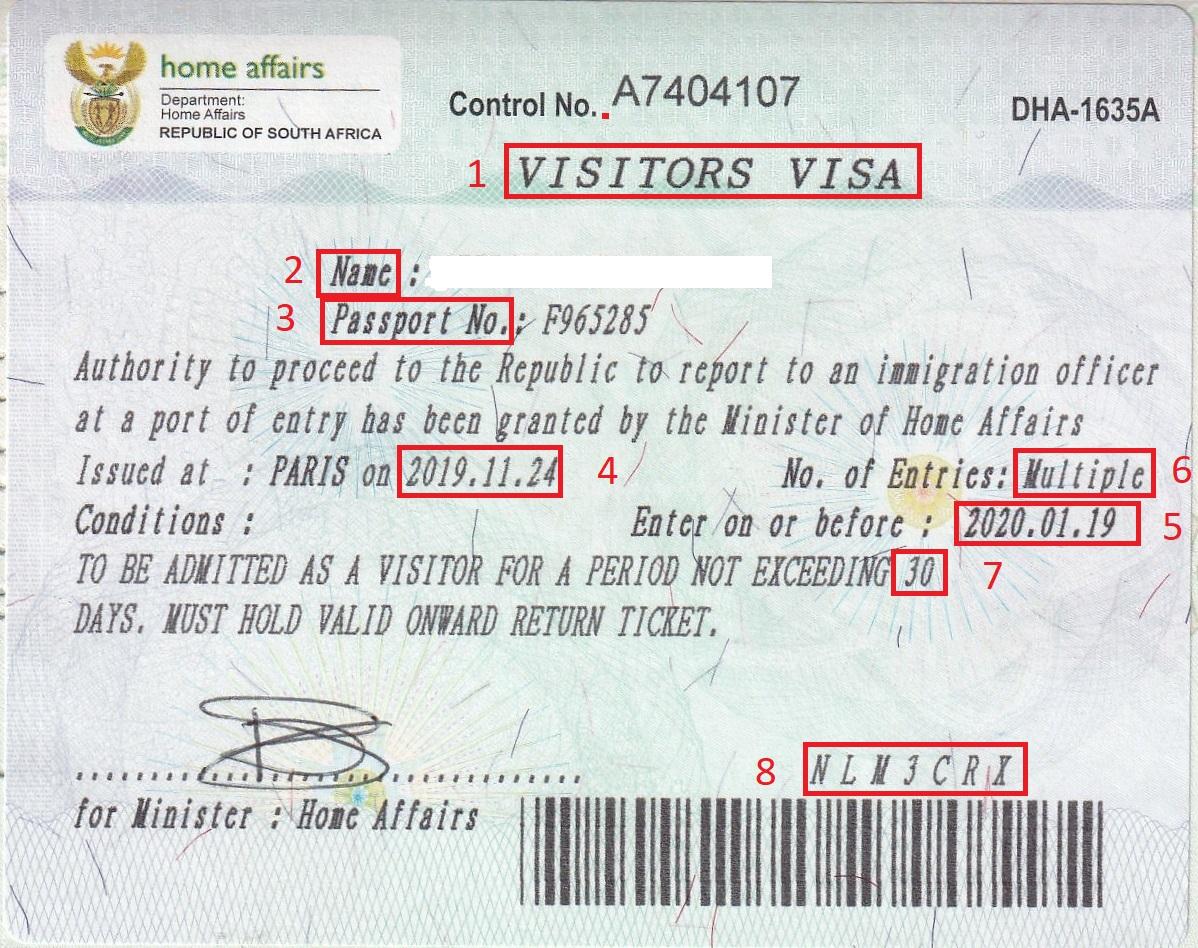 Exemple visa pour Visa Afrique du Sud