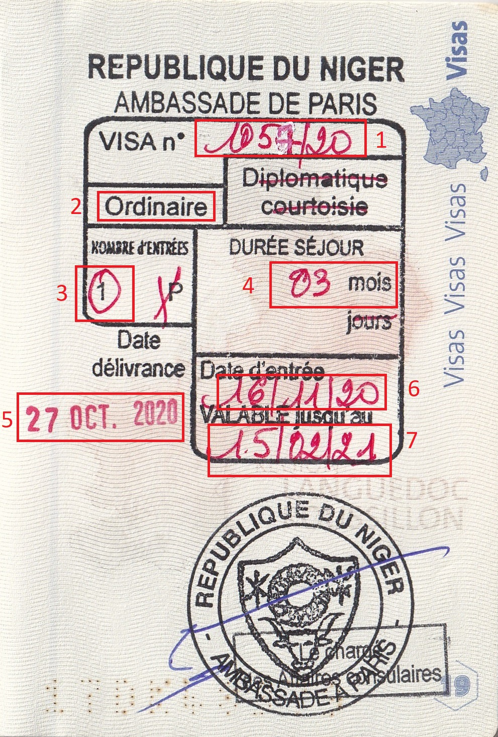 Exemple visa pour Visa Niger
