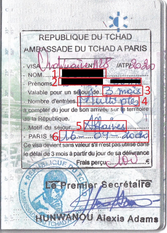 Exemple visa pour Visa Tchad