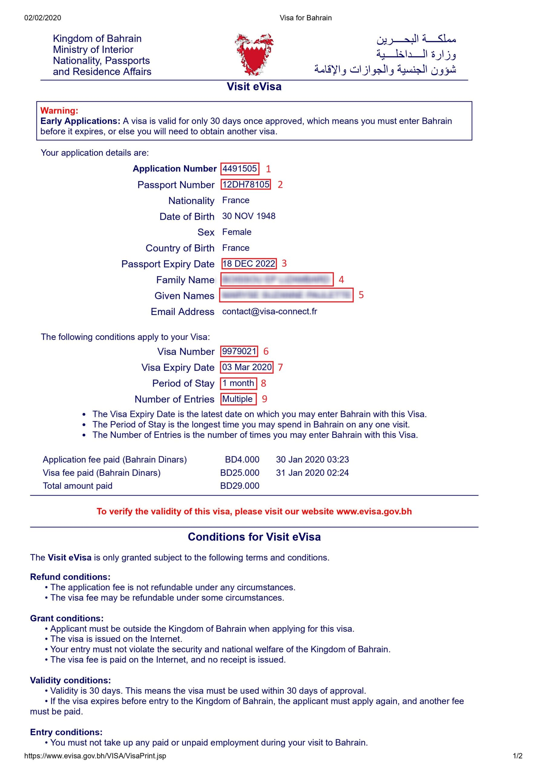 Exemple visa pour eVisa Bahreïn