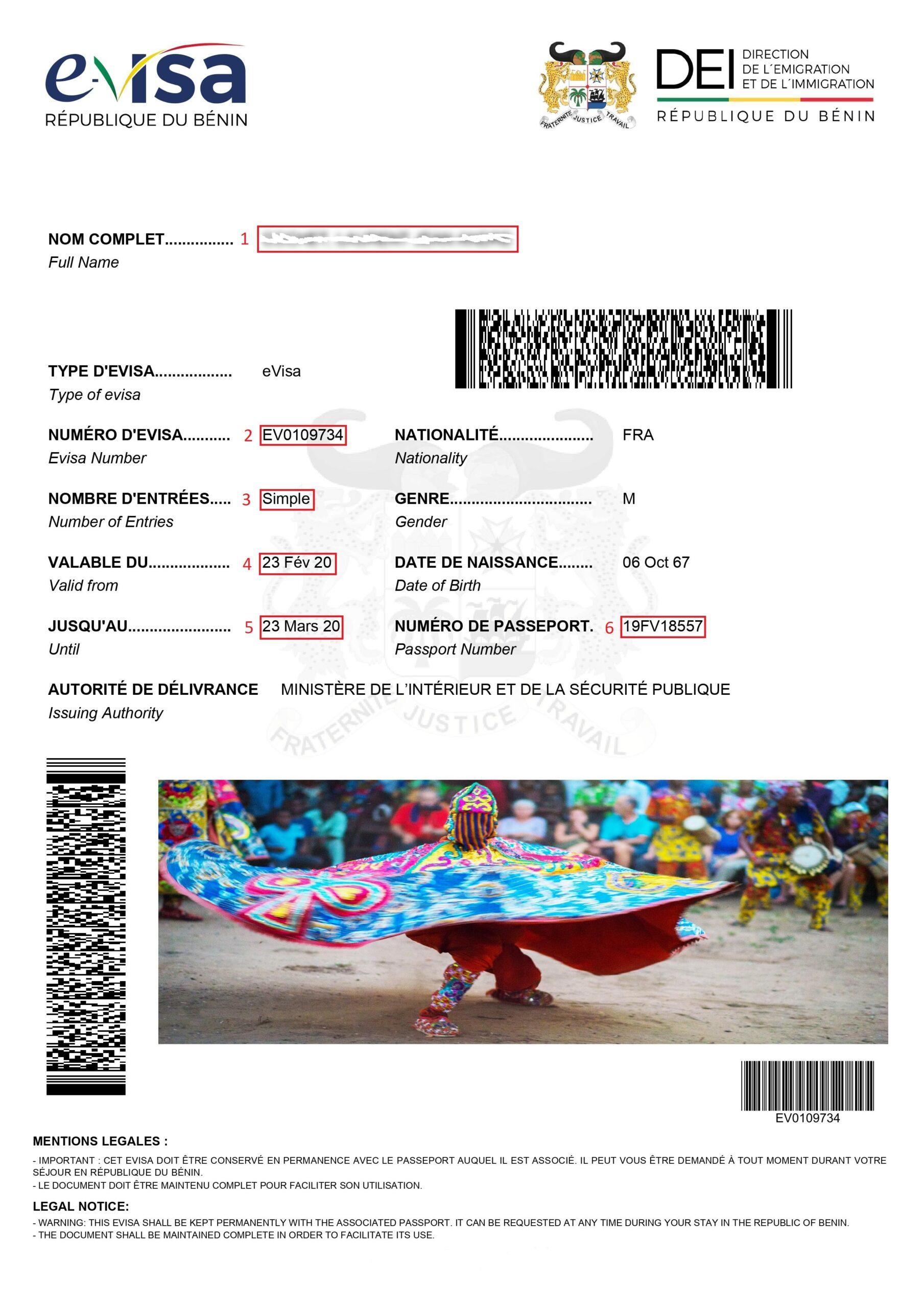 Exemple visa pour eVisa Bénin