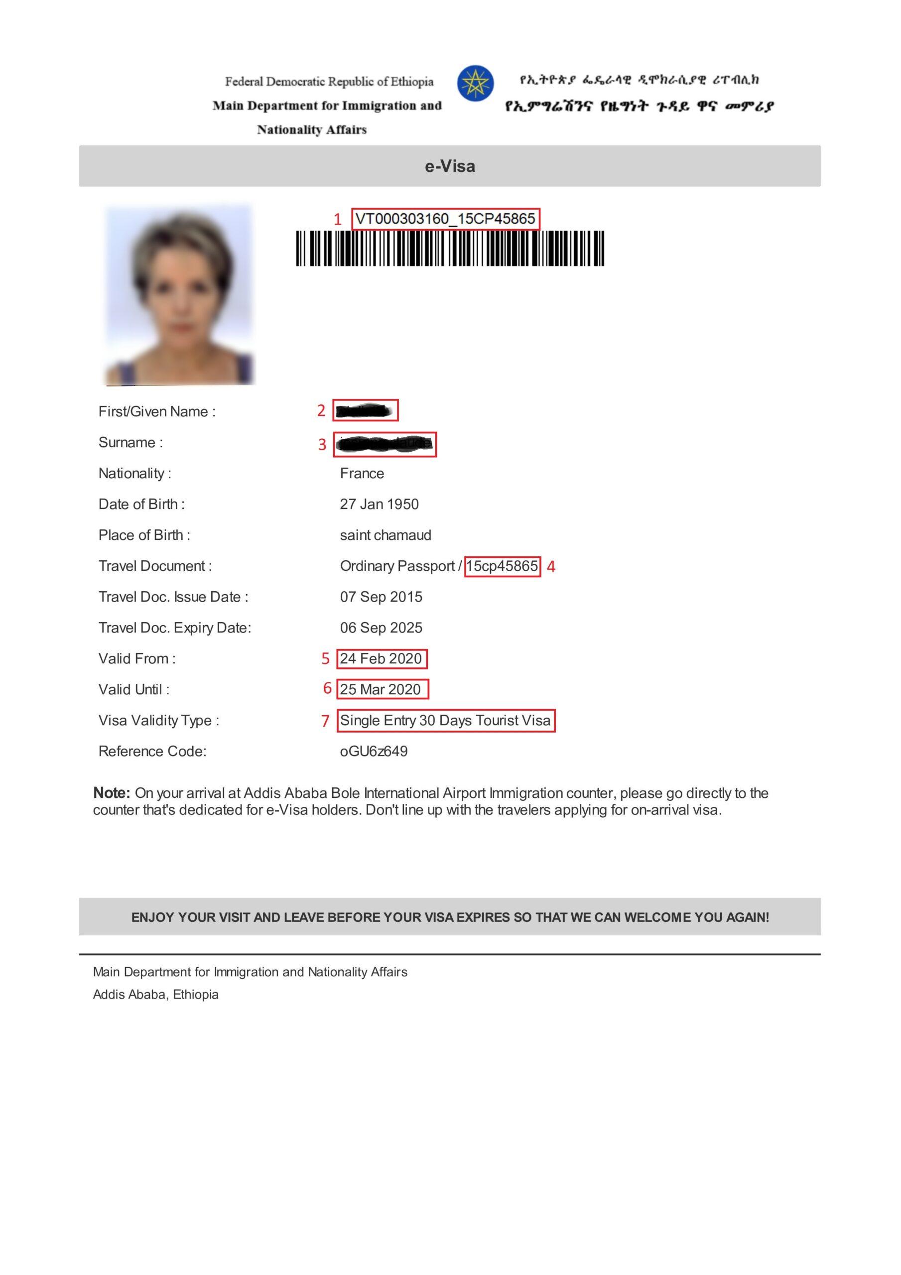 Exemple visa pour eVisa Ethiopie