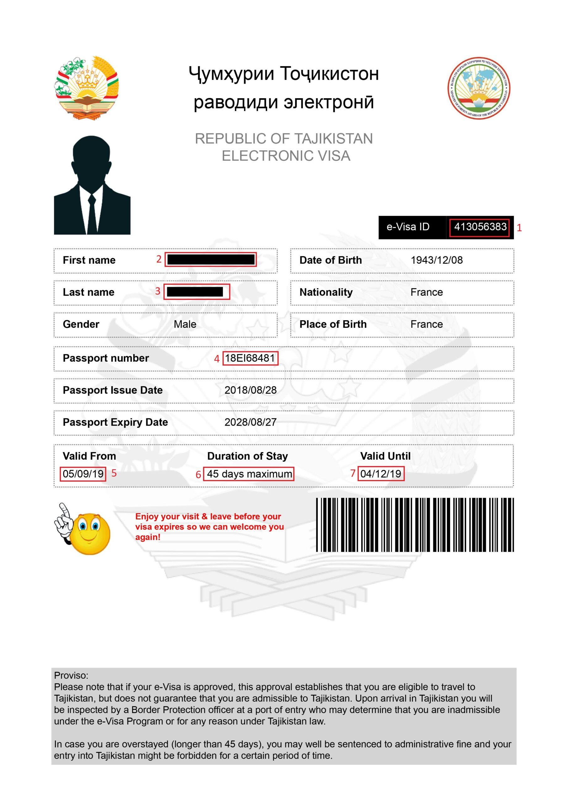 Exemple visa pour eVisa Tadjikistan