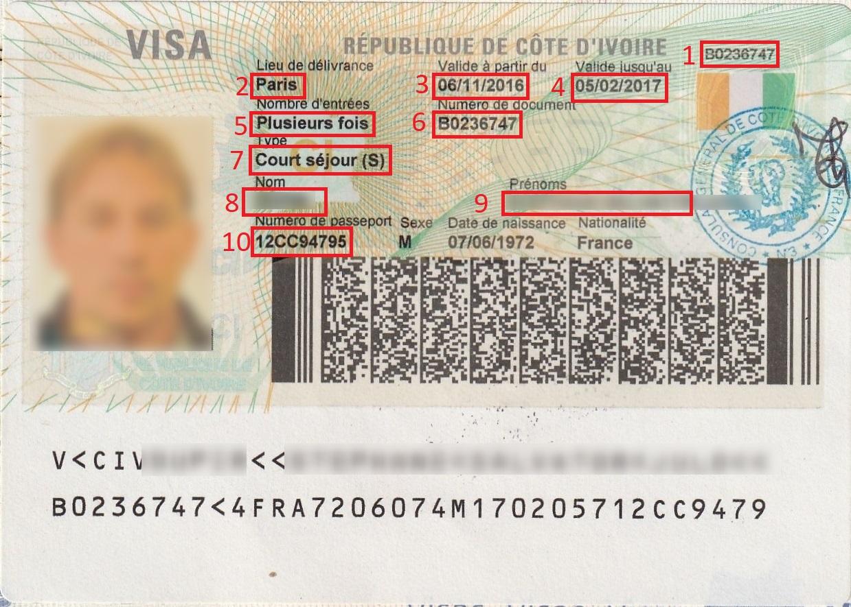 Exemple visa pour Visa Côte d'Ivoire