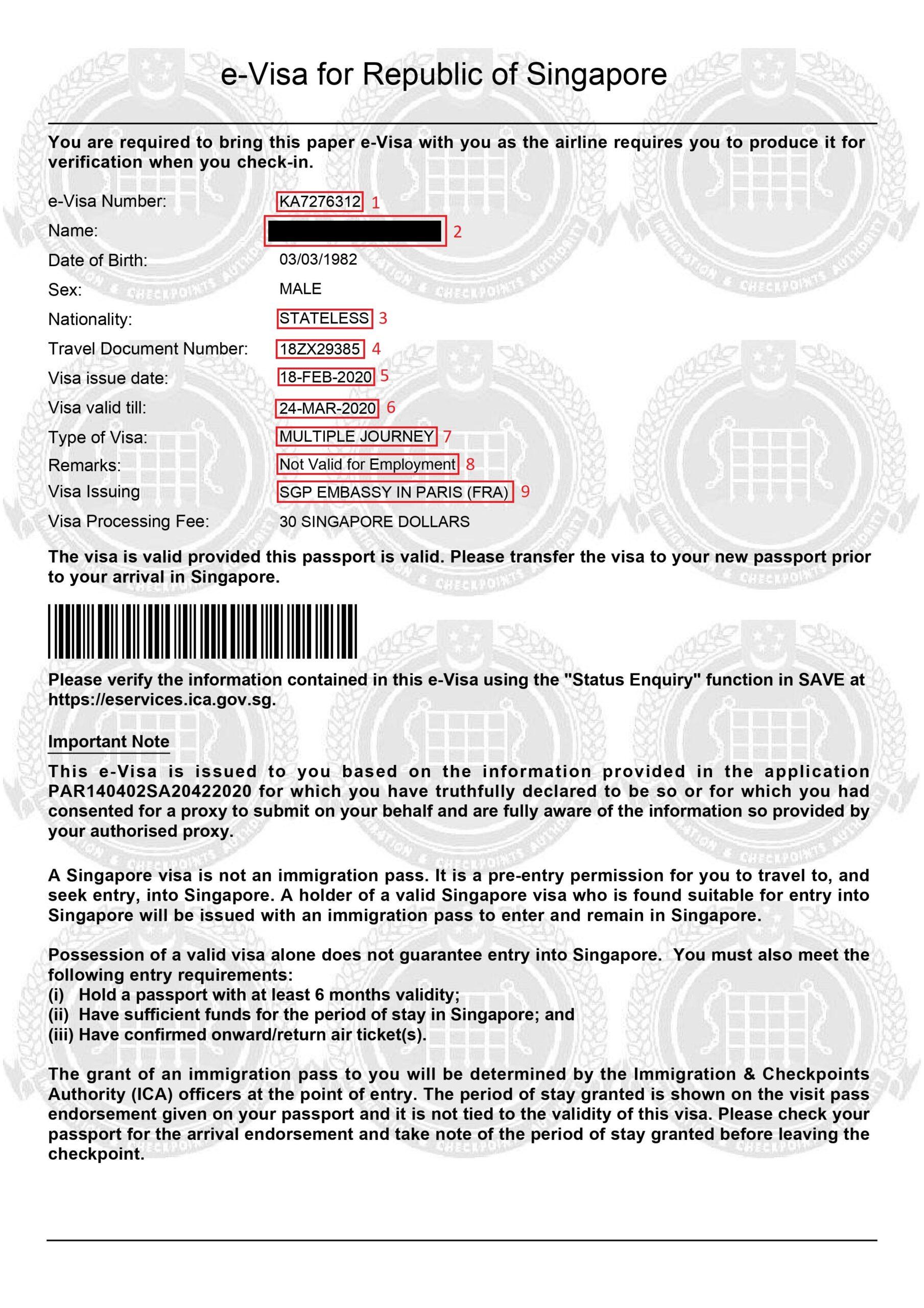 Exemple visa pour Visa Singapour