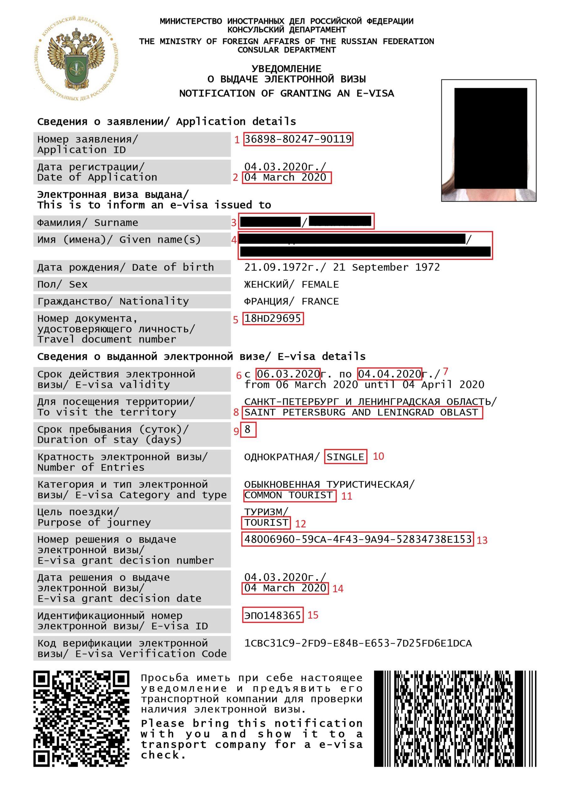 Exemple visa pour eVisa Russie