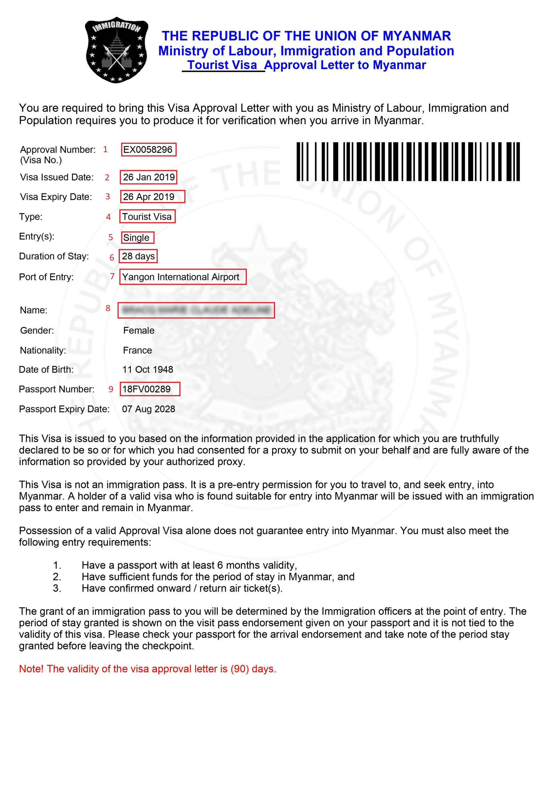 Exemple visa pour eVisa Myanmar/Birmanie