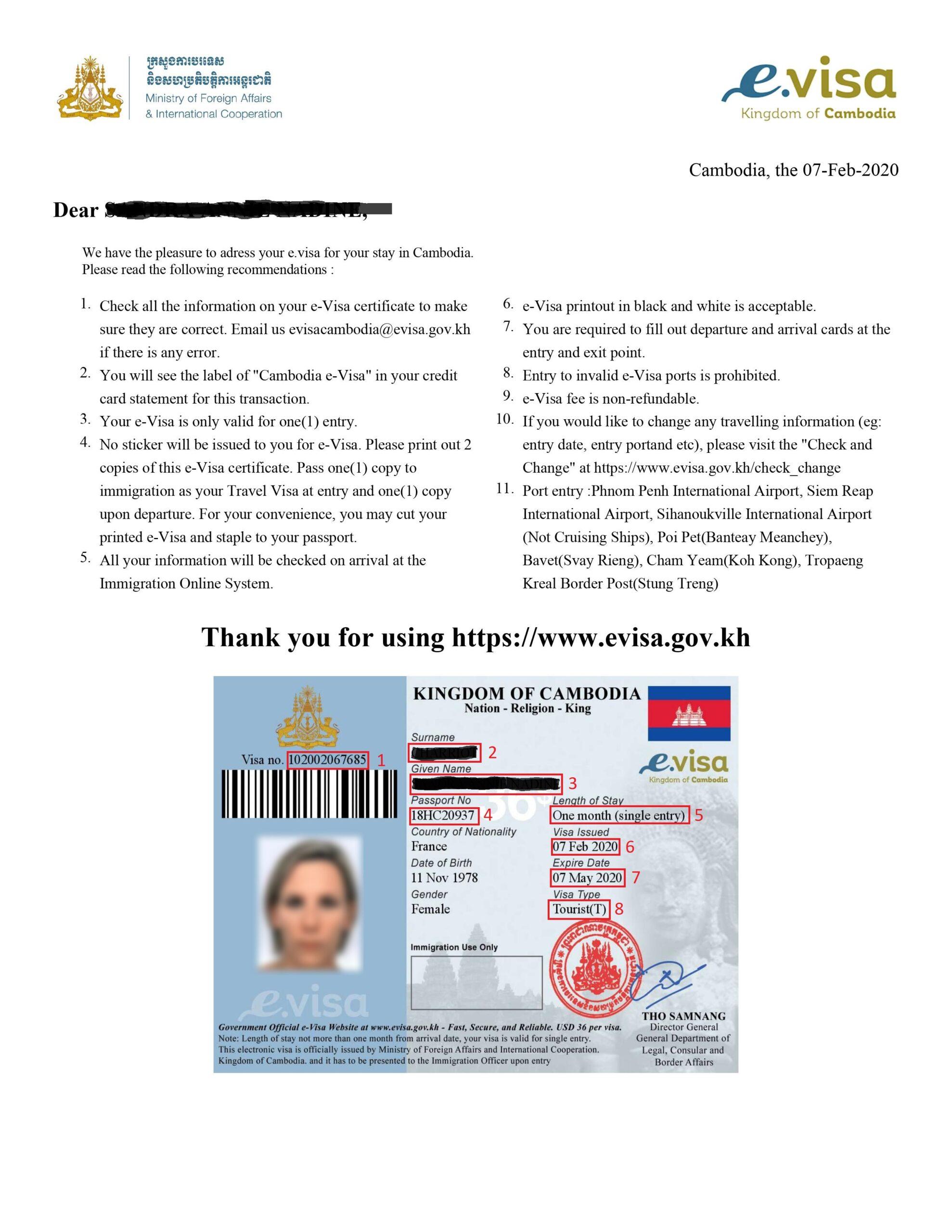 Exemple visa pour eVisa Cambodge