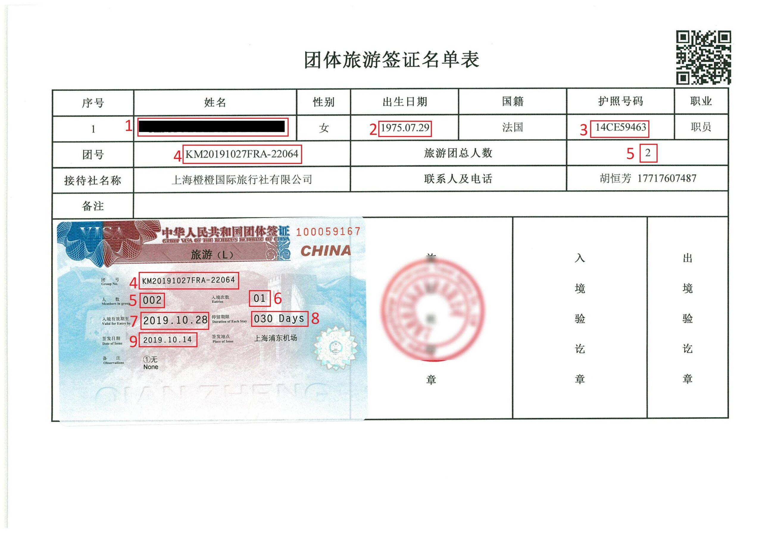 Exemple visa pour eVisa Chine