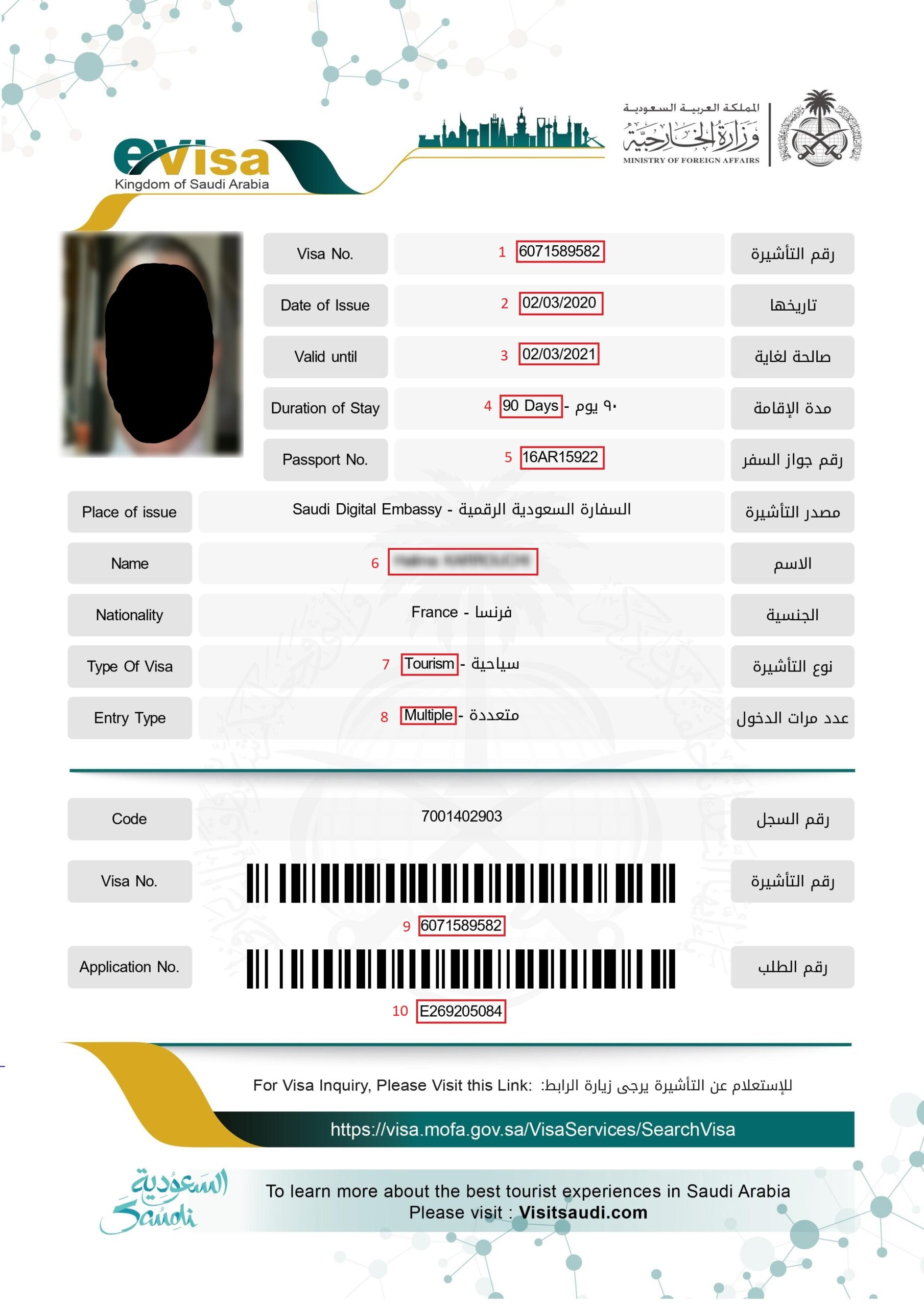 Exemple visa pour eVisa Arabie Saoudite