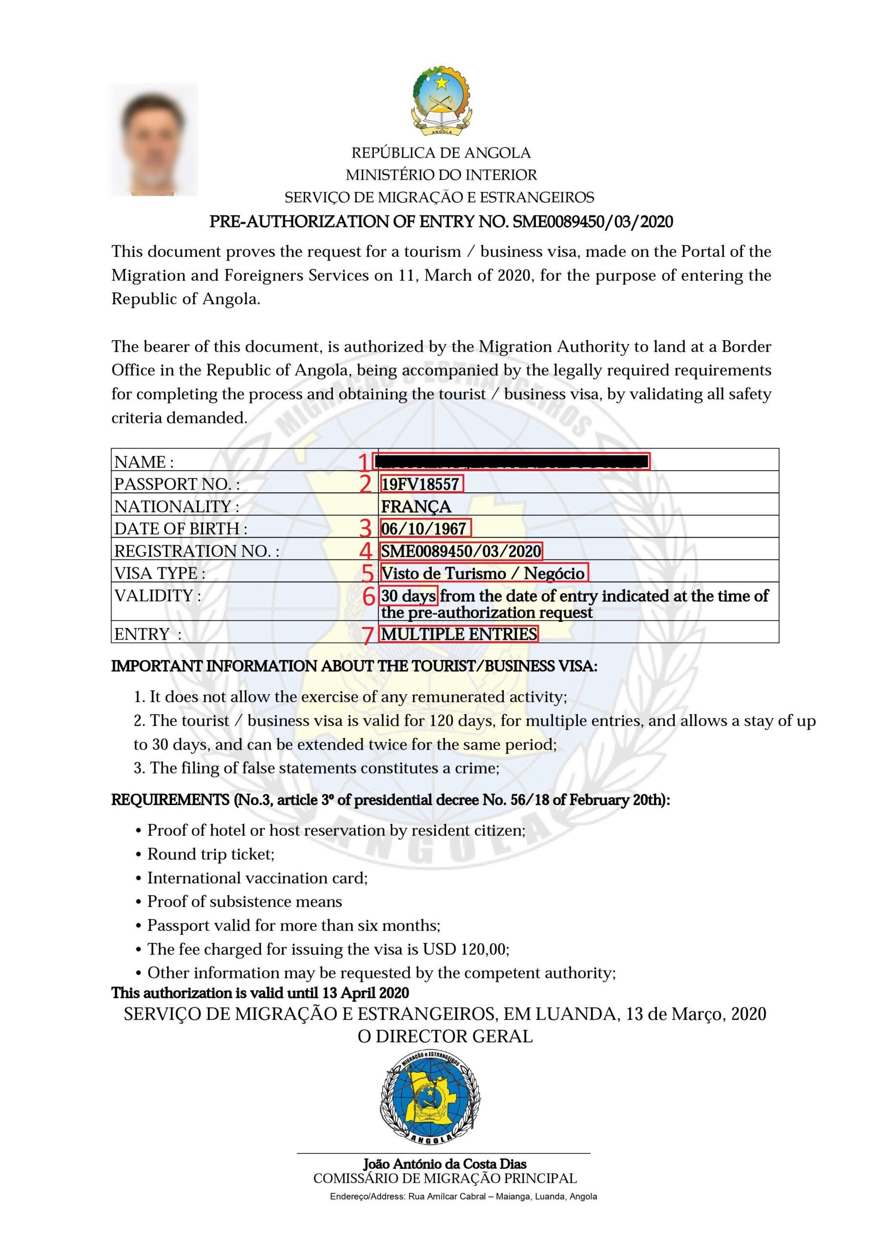 Exemple visa pour eVisa Angola